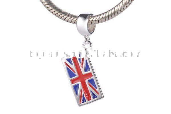 charms beads,European beads,Union Jack 925 sterling silver European bead pendant & charm SST215