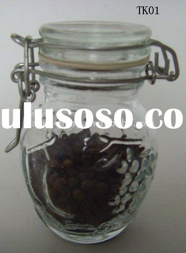 clear mini glass jar with metal clip TK01