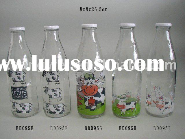 glass bottle with decal