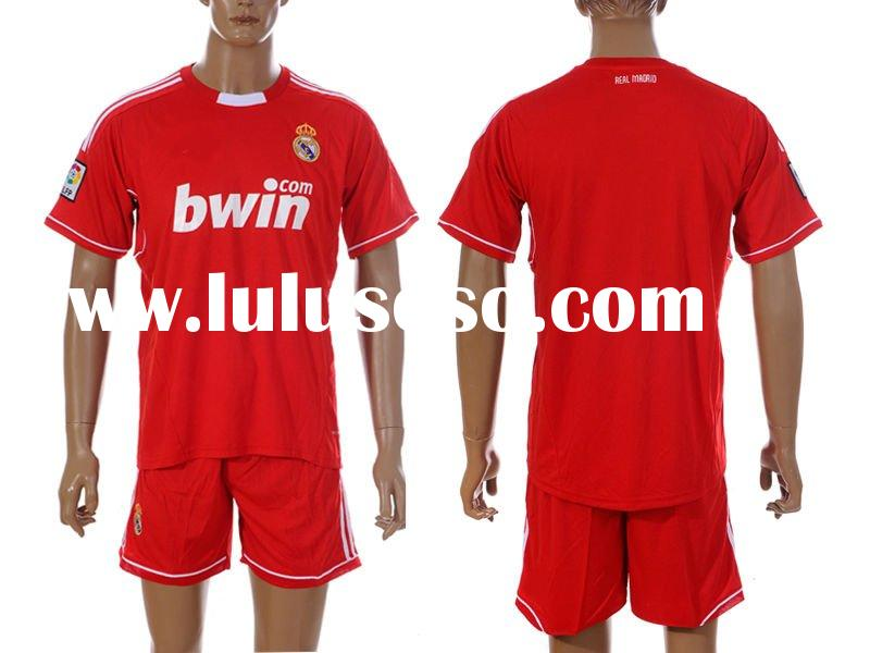 soccer jersey,Real Madrid 2011/2012 home red/blue jersey and shorts kit,soccer Uniforms,sports jerse
