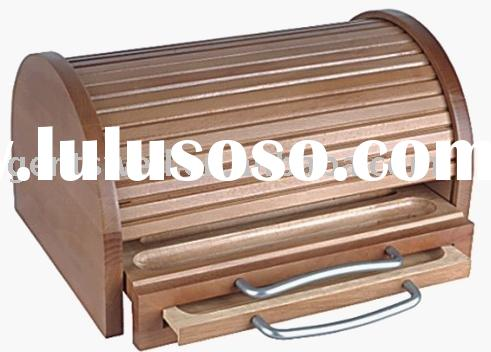 wooden bread bin,bread box,bread holder, beech wood with ( FSC )wooden bread