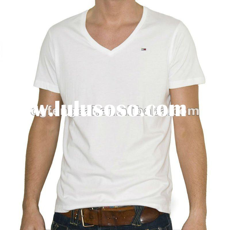 100% cotton short sleeve v-neck white t-shirts wholesale
