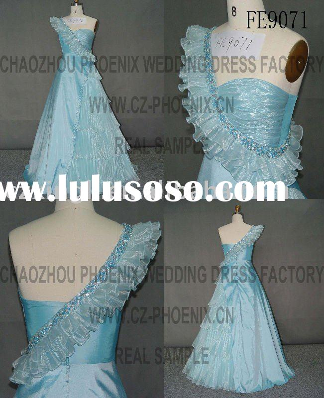 2010 A-Line Floor Length One-shoulder Taffeta collection prom dress FE9071