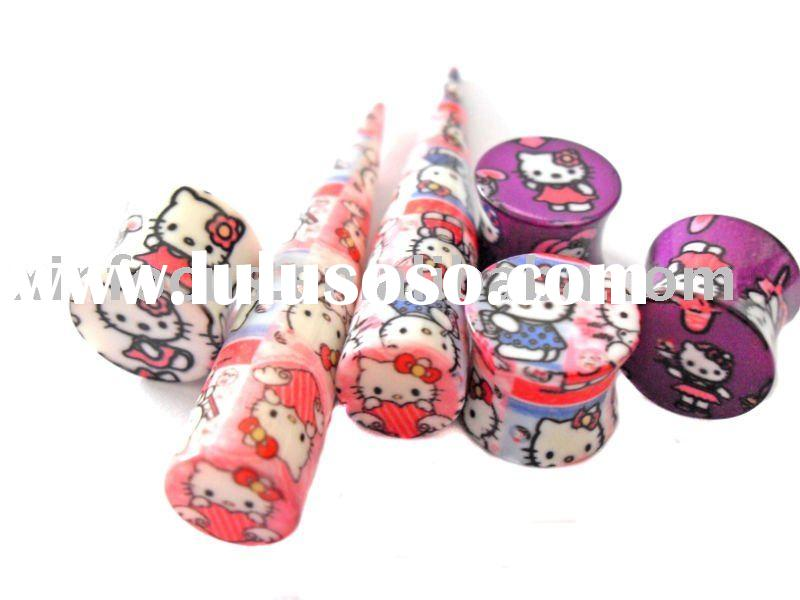 2011 The Hottest Hello Kitty UV Acrylic Ear Plug,Hello Kitty Ear Piercing Jewelry. Hello Kitty Body