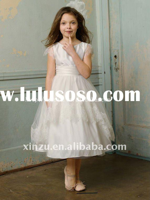 2011 White Satin Sash Embroider Flower Girl Dress