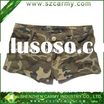 2012 New 100% cotton Women's Fashion Oliver Green Camouflage Hot Tight Shorts