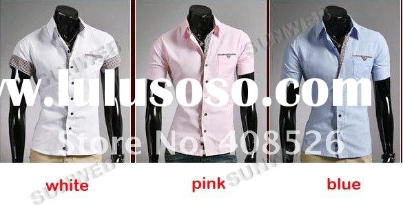 2012 New Men's Casual Slim Fit Stylish Dress Shirts Short Sleeve