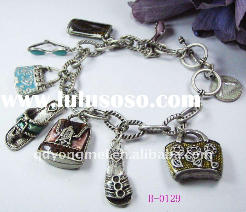 2012 fashion costume jewelry handmade antique silver alloy shoe handbag charms chain bracelet