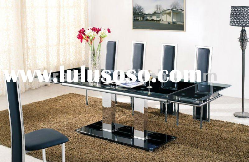 2012 new design folding metal dining table with Aluminum and tempered glass