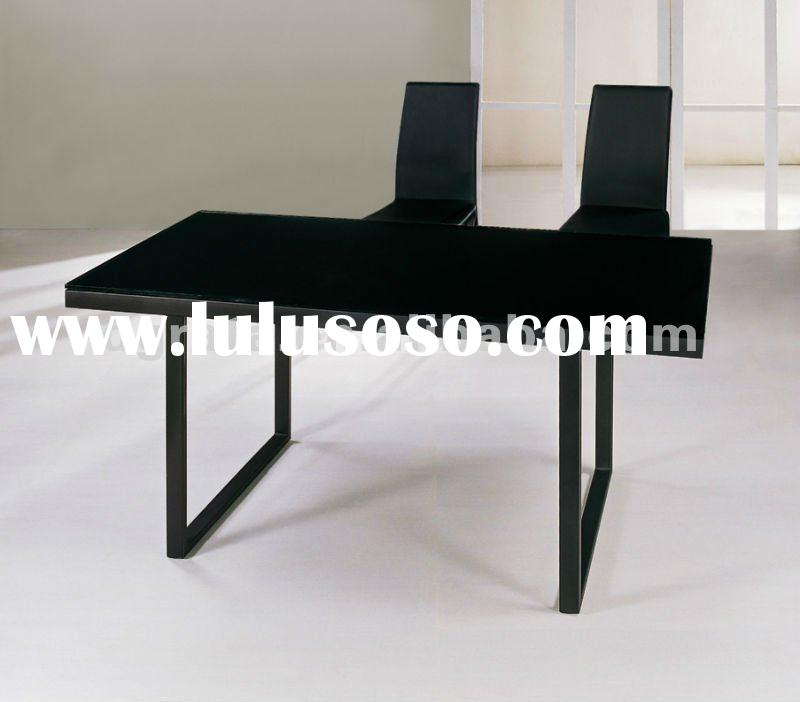 2012 new design modern metal dining table with A3 carbon steel and tempered glass