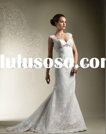 2012 new style cap sleeve empire line beaded lace keyhole back with buttons wedding dress