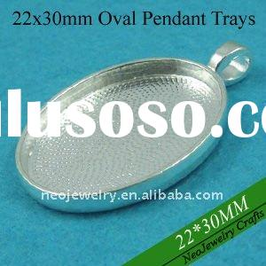 22x30mm Oval Silver Plated Blank Pendant Trays, Pendant Blanks, Pendant Bases, Pendant Settings, Bez