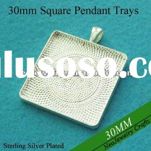 30mm Sterling Silver Plated Squre Bezel Pendant Settings, Cabochon Frames