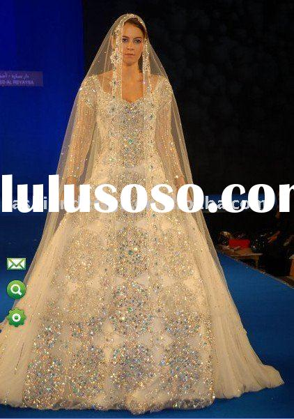 AWD123 2011 gorgeous muslim long sleeves sewing with sparkle swarovski crystals muslim wedding dress