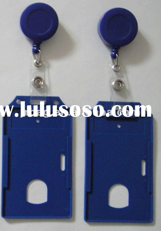 Blue plastic credit ID badge card holder with badge reel