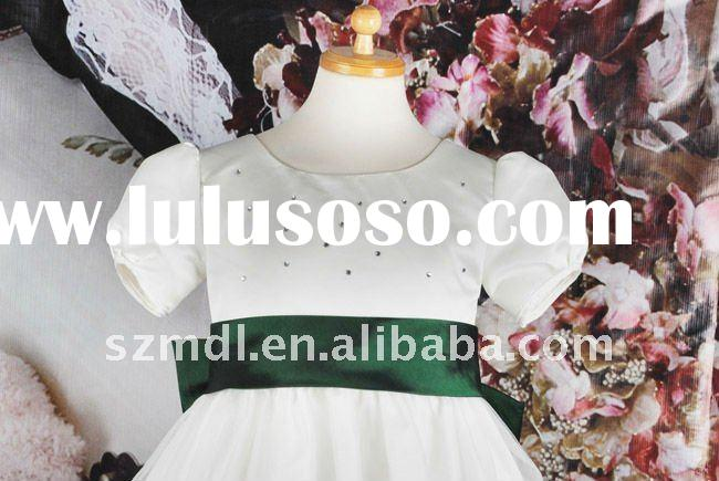 Cap sleeve green beads and sash with big bowknot ball gown flower girl dress
