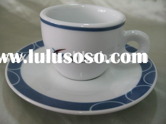Classic round porcelain coffee cup and saucer