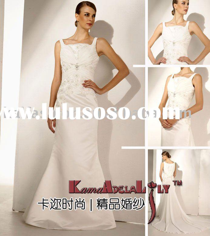 EB1980 Fashionable shoulder strap embroidery beaded sheath 2011 bridal gown bridal dress wedding dre