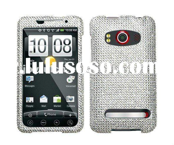 FOR HTC EVO 4G RHINESTONE CASE SPRINT PCS WHITE SILVER