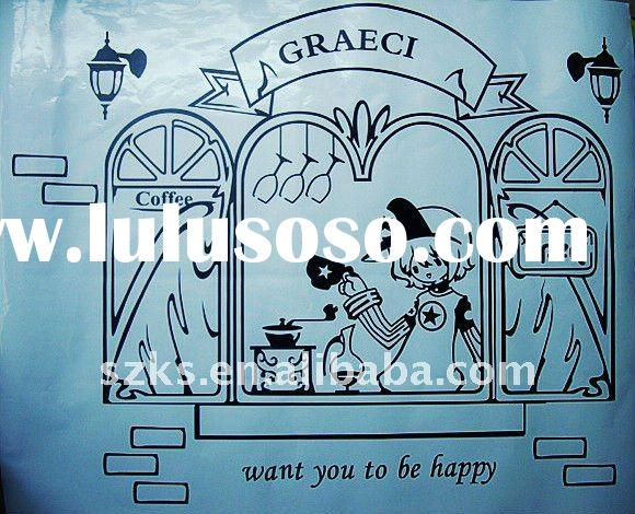 Fashion cafe wall decal designs