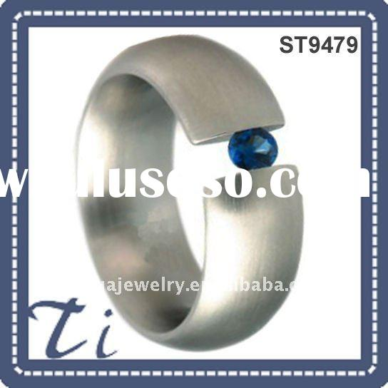 Fashion stainless steel ring with cz stone