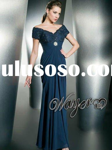 Formal Shealth Navy Blue Chiffon Evening Dress HL-MB0071