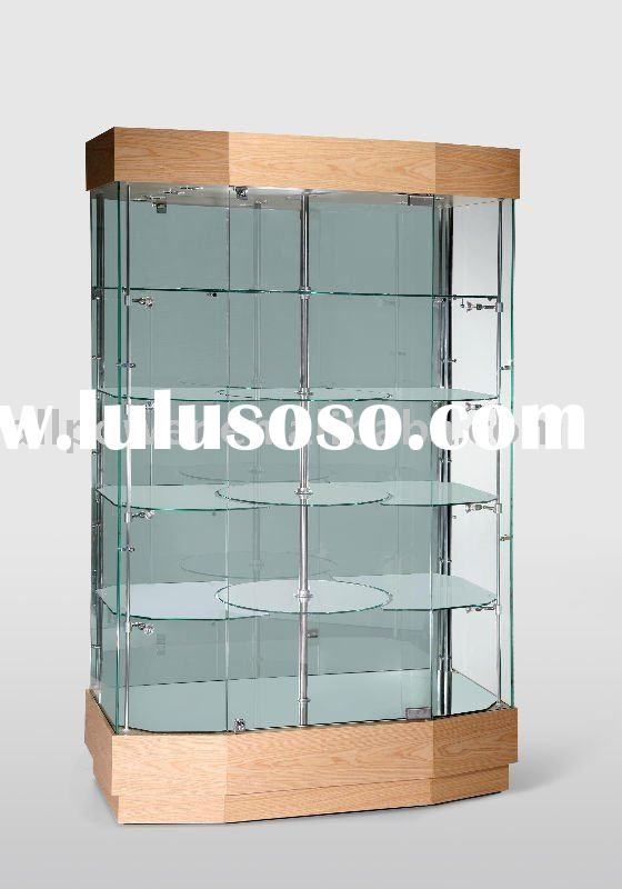 Glass showcases, MDF with veneer, tempered glass, halogen lights illuminations, glass shelves