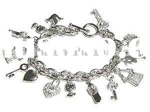 Multi Charms Alloy Bracelet,Platinum Plated Chain Bracelet,Fashion Accessories For Women And Childre