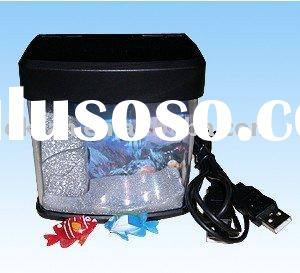 New Mini USB Aquarium Fish Tank With Blue LED Light Best Gift for Christmas
