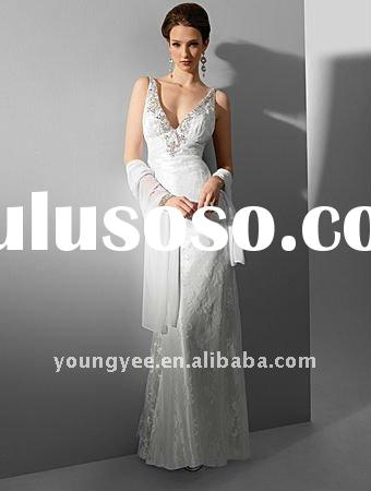 New style spaghetti straps backless lace top wedding dresses 2012