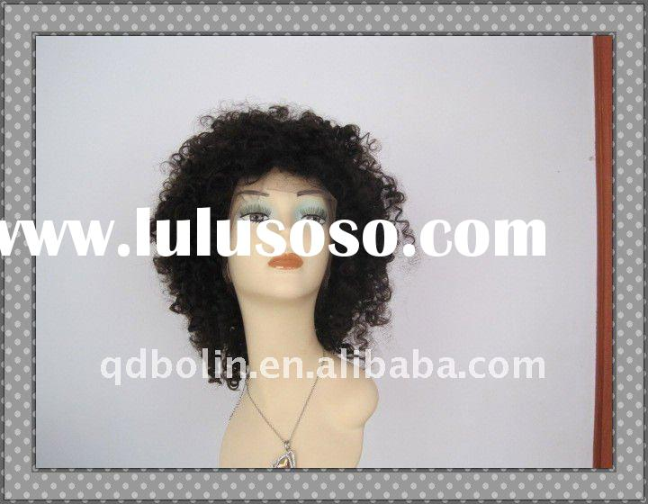 SUPER SHORT KINKY CURL NATURAL COLOR INDIAN HUMAN HAIR BLACK CURLY WIGS