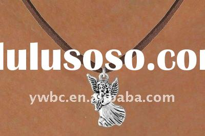 Silver guardian angel with black leather cord fashion pendant necklace(A100598)