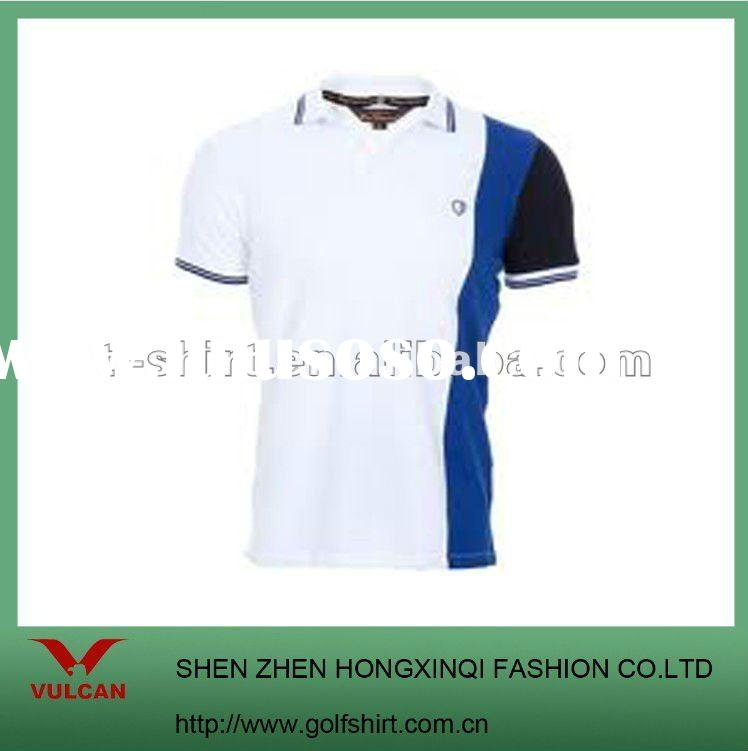 Slim fit dry fit men golf polo shirt white with blue trimming design