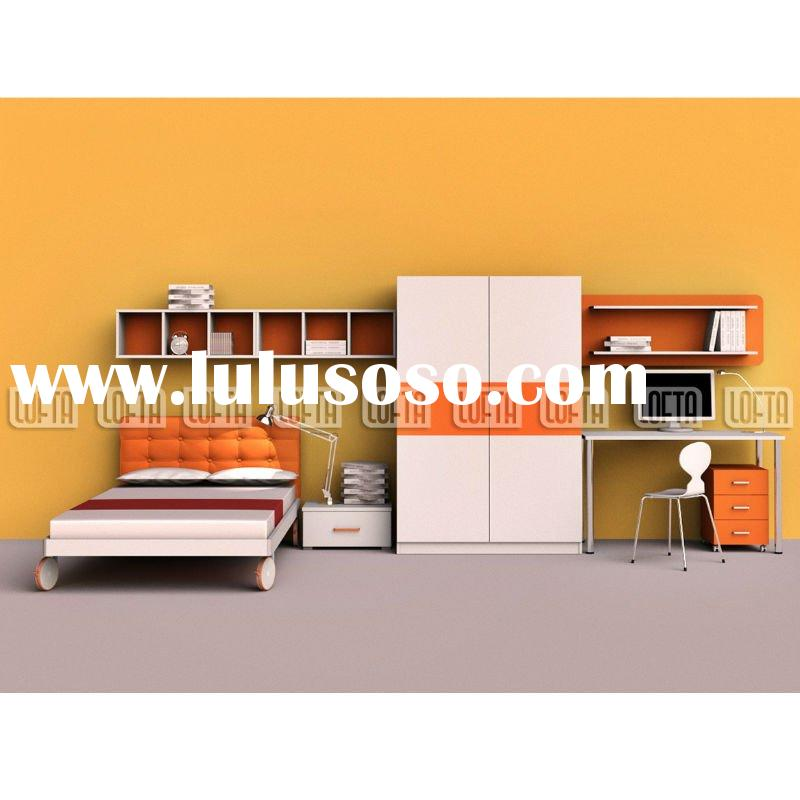 Teen bedroom set with trundle bed, bedside table, slide door wardrobe, wall shelf and computer desk