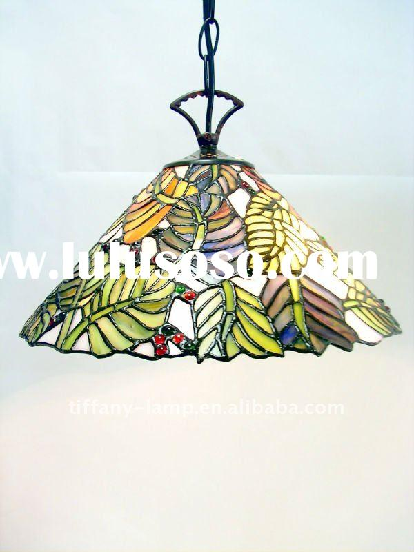 Unique stained glass shade round pendant lamp