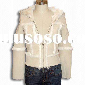 Women's Goat Suede Leather Jacket with Zipper Pockets and Large Collar