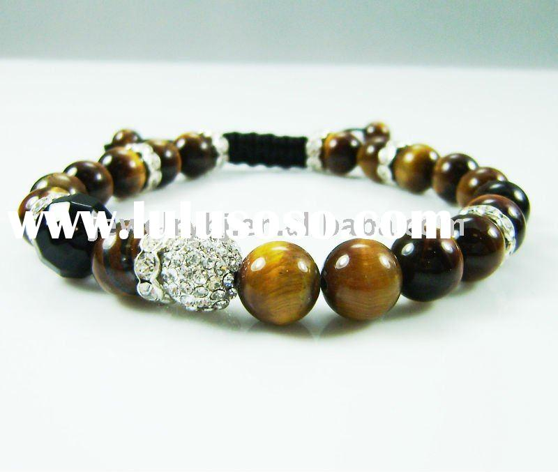 Yellow tiger eye and crystal ball shamballa bracelet