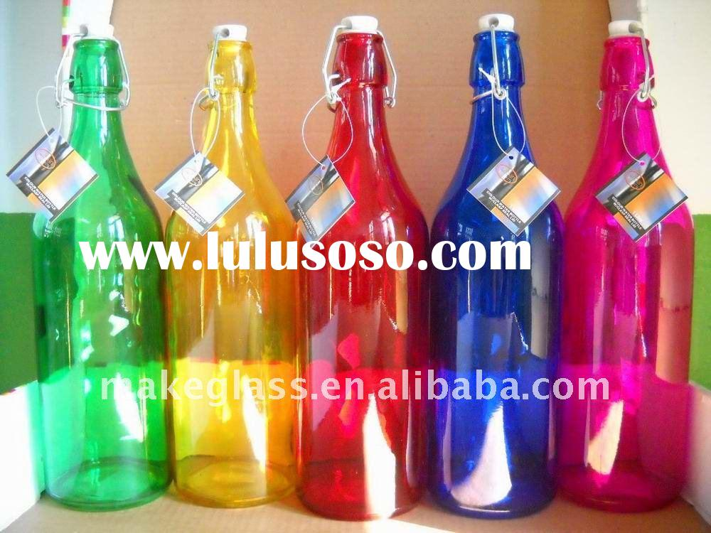 colored glass water bottle,1L glass milk&water bottle