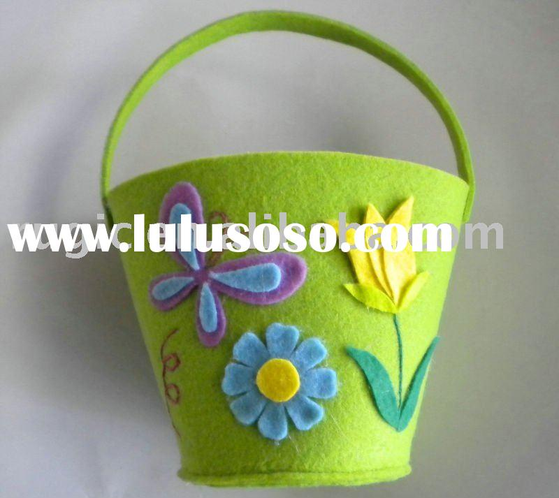 craft art easter decoration felt bucket, art craft ornament non woven felt easter decoration bucket,