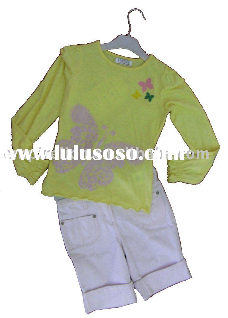 stock girl's 100% cotton knitted T-shirts with print