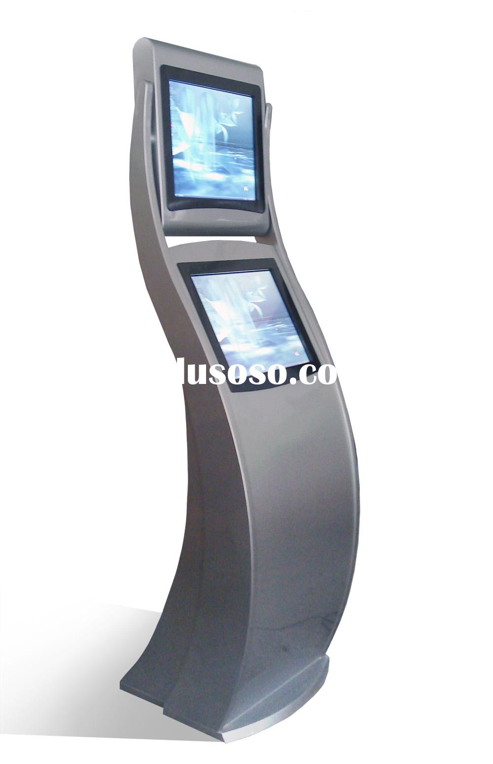 touchscreen Kiosk with Intergrated A4 laser printer/ Dual screen photo kiosk/ Dual screen touch scre