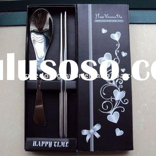 wedding favor--spoons and chopsticks in black gift box