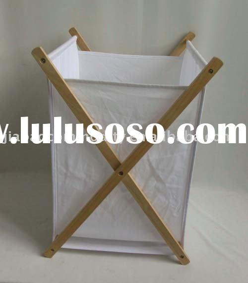 wood with fabric laundry basket