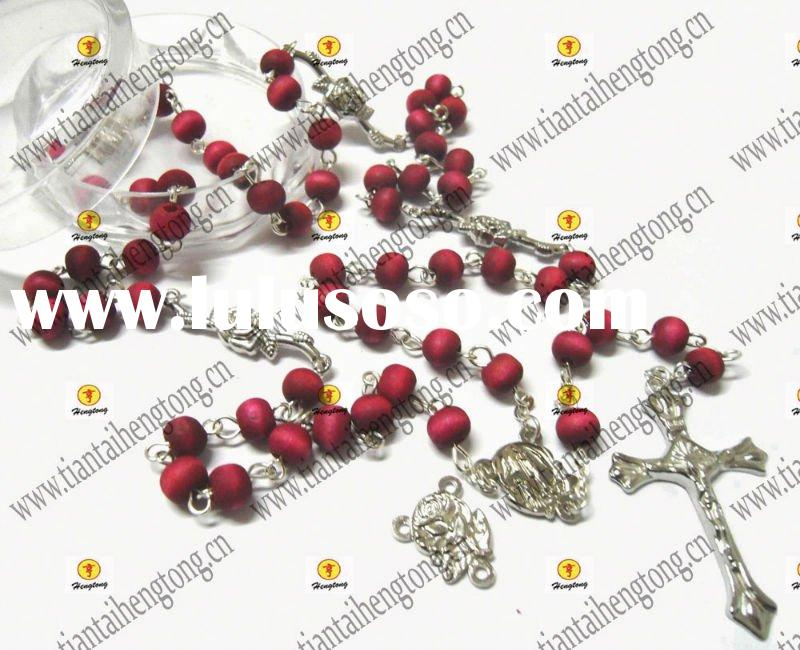 wooden bead rosary, rosary necklace