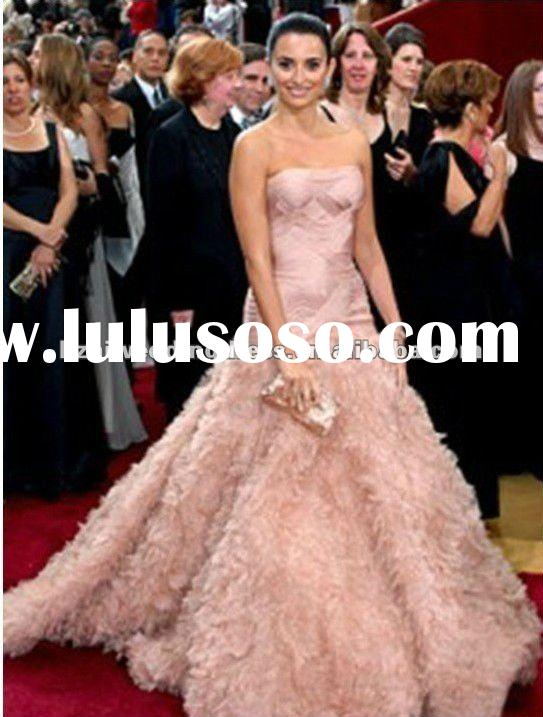 2012 Hot Sales Oscar Awards A-line Strapless Custom-made Pink Wedding Dress xw1585