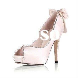 2012 Reserved satin upper women wedding shoes/ fashion rhinestone bowtie high heel bridal shoes MS24