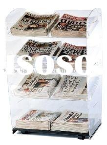 4-tier Acrylic Freestanding Newspaper Display Stand