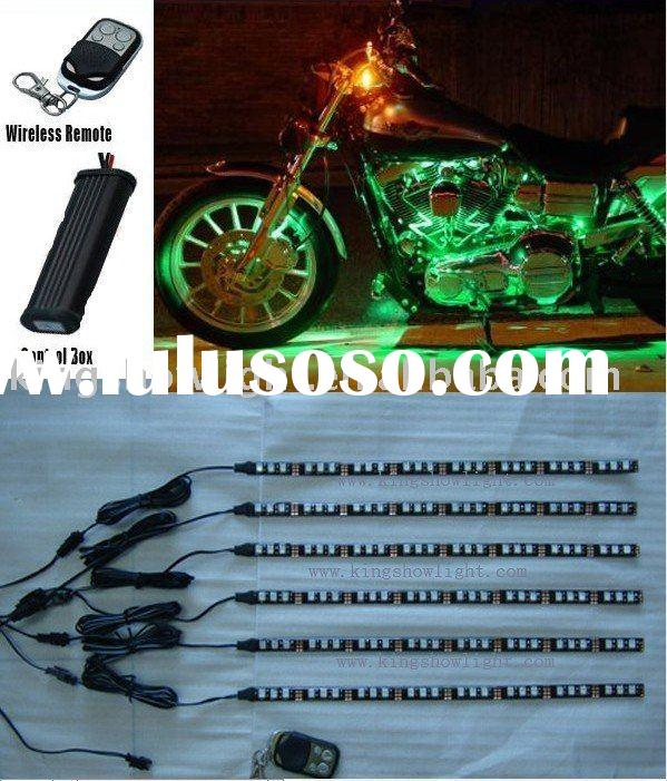 6pc green LED 5050 Flexible Motorcycle Lighting Kit with remote