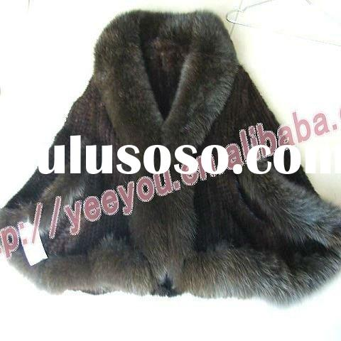 Brown Mink Fur With Fox fur Edge Knitted Cape/shawls s19