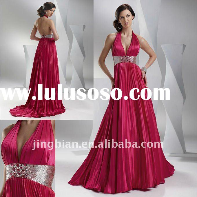 Classy slinky satin A-line featuring beaded empire waistband Prom Dress 2012 Fashion Dresses Evening